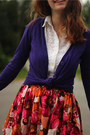 White-lace-shirt-deep-purple-cardigan-carrot-orange-floral-skirt