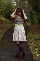 black striped shirt - magenta lace tights - yellow belt - eggshell striped skirt
