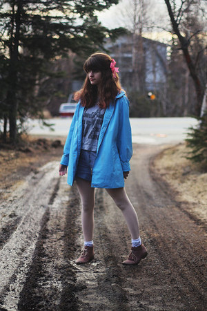 love shirt - boots - rain jacket - polka dot tights - pinstripe shorts - socks