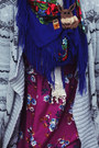 Floral-dress-lace-scarf-floral-scarf-striped-cardigan
