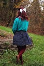 White-lace-collared-shirt-teal-fox-sweater-maroon-tights