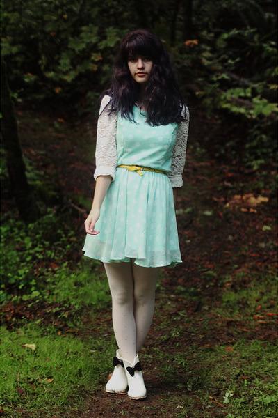 ivory boots - light blue polka dot dress - cream lace shirt - eggshell tights