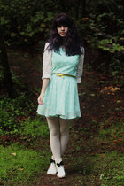 ivory boots - light blue polka dot dress - cream lace shirt - eggshell tights