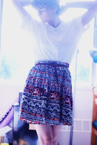 crimson printed skirt - white lace shirt - sky blue patterned sneakers