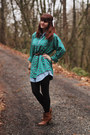 Camel-boots-turquoise-blue-jean-dress-green-plaid-shirt