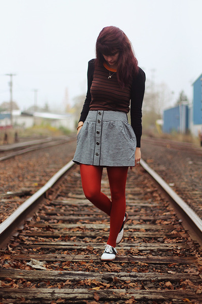 carrot orange striped sweater - ruby red tights - periwinkle striped skirt