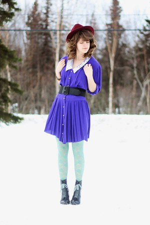 purple thrifted vintage dress - charcoal gray lace vintage boots