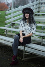 Maroon-hat-eggshell-floral-shirt-gray-tights-maroon-loafers