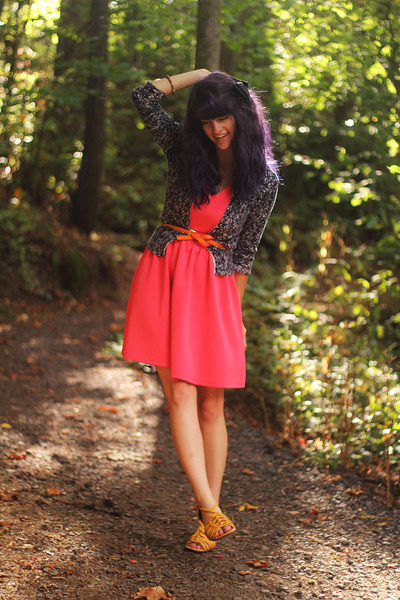 black lace cardigan - salmon dress - carrot orange belt - yellow sandals