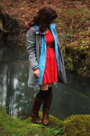 sky blue rain jacket - dark brown boots - red lace dress - navy socks