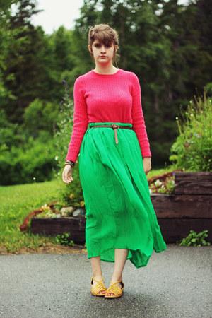 chartreuse skirt - hot pink shirt - dark brown belt - yellow sandals