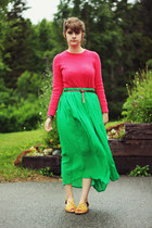 chartreuse skirt - hot pink shirt - dark brown belt - yellow sandals