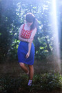Red-polka-dot-dress-dark-gray-polka-dot-socks-blue-skirt