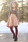 Puce-jeweled-shirt-maroon-tights-coral-mini-polka-dot-skirt