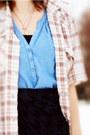 Hot-pink-floral-tights-sky-blue-dress-beige-striped-shirt