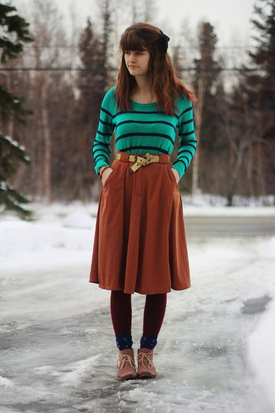 green striped shirt - coral boots - brick red tights - deep purple star socks