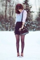 camera vintage bag - coral suede boots - heather gray dress
