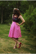 bubble gum polka dot skirt - magenta lace dress - maroon glasses - red heels