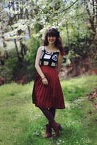 bronze boots - white geometric dress - brown tights - tawny skirt