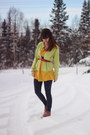 Pink-boots-yellow-dress-navy-floral-leggings-lime-green-cardigan