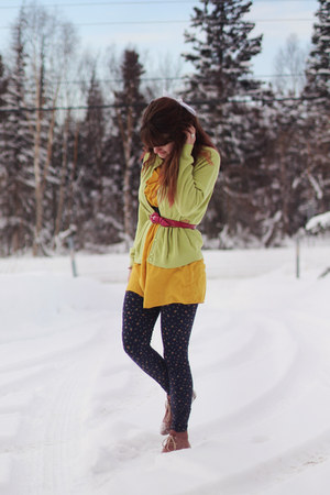 pink boots - yellow dress - navy floral leggings - lime green cardigan