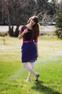 Floral-dress-lace-tights-velvet-skirt-belt-heels