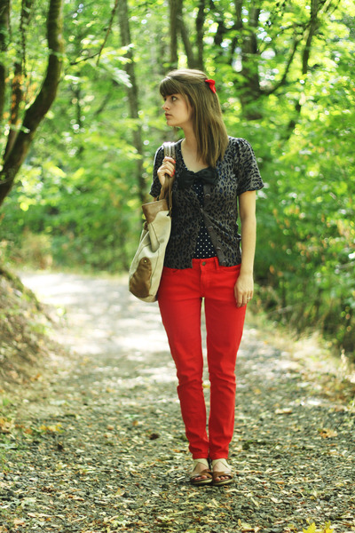red pants - blue polka dot shirt - blue leopard print cardigan