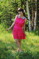 hot pink sequin dress - sky blue sneakers - green flower earrings earrings