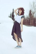 turquoise blue polka dot vintage dress - ivory knotted shirt