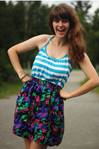 turquoise blue striped shirt - deep purple skirt