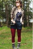 floral dress - jacket - tights - cardigan