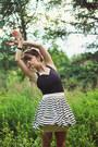 Black-polka-dot-dress-light-purple-socks-white-striped-asos-skirt