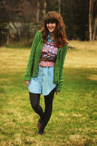 dark green sweater - sky blue denim dress - maroon geometric shirt - gray tights