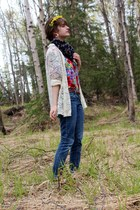 eggshell lace cardigan - purple floral dress - red floral shirt