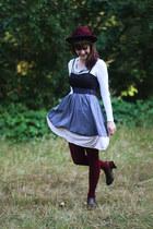 light purple striped dress - maroon hat - maroon tights - white lace cardigan