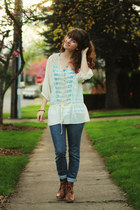 off white lace shirt - sky blue striped shirt - bronze boots - navy jeans