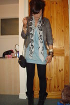 blue River Island dress - white Miss Selfridge scarf - gray new look jacket