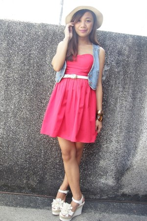 red Find and Flaunt dress - denim vest