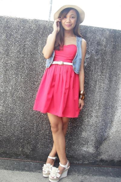 red Find and Flaunt dress - denim vest