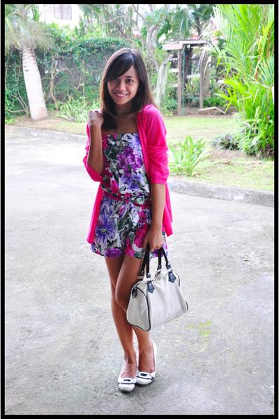 pink cardigan - pink - white shoes - white