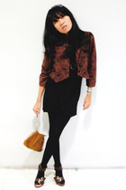 tiffiny jacket - MNG basic dress - Zara stockings - Lily purse - Jwest spore sho