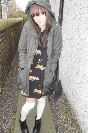 allsaints coat - Primark dress - Topshop boots - Kate Moss for Topshop accessori
