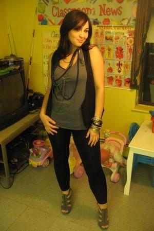 gray Forever 21 shoes - black Forever 21 vest