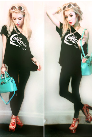 teal satchel JustFab bag - wildfox couture top