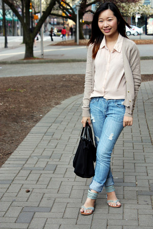 sky blue Spring sandals - tan Zara cardigan - neutral Forever 21 blouse