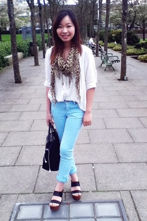 H&M jeans - Forever 21 shirt - longchamp bag