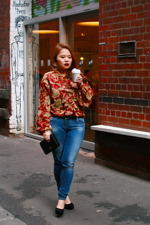 blue sass & bide jeans - black purse - crimson thrifted vintage blouse - velvet