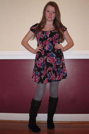 gray Target tights - black Urbanogcom boots - black Forever21 dress