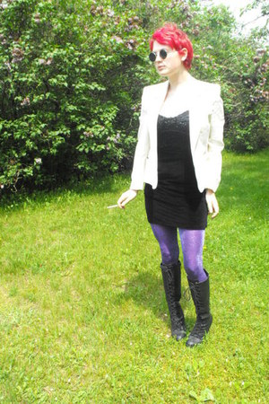 boots - Thrift Store dress - off-white Thrift Store blazer - purple sparkle H&M