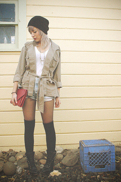 black combat thrifted boots - beige cargo thrifted jacket